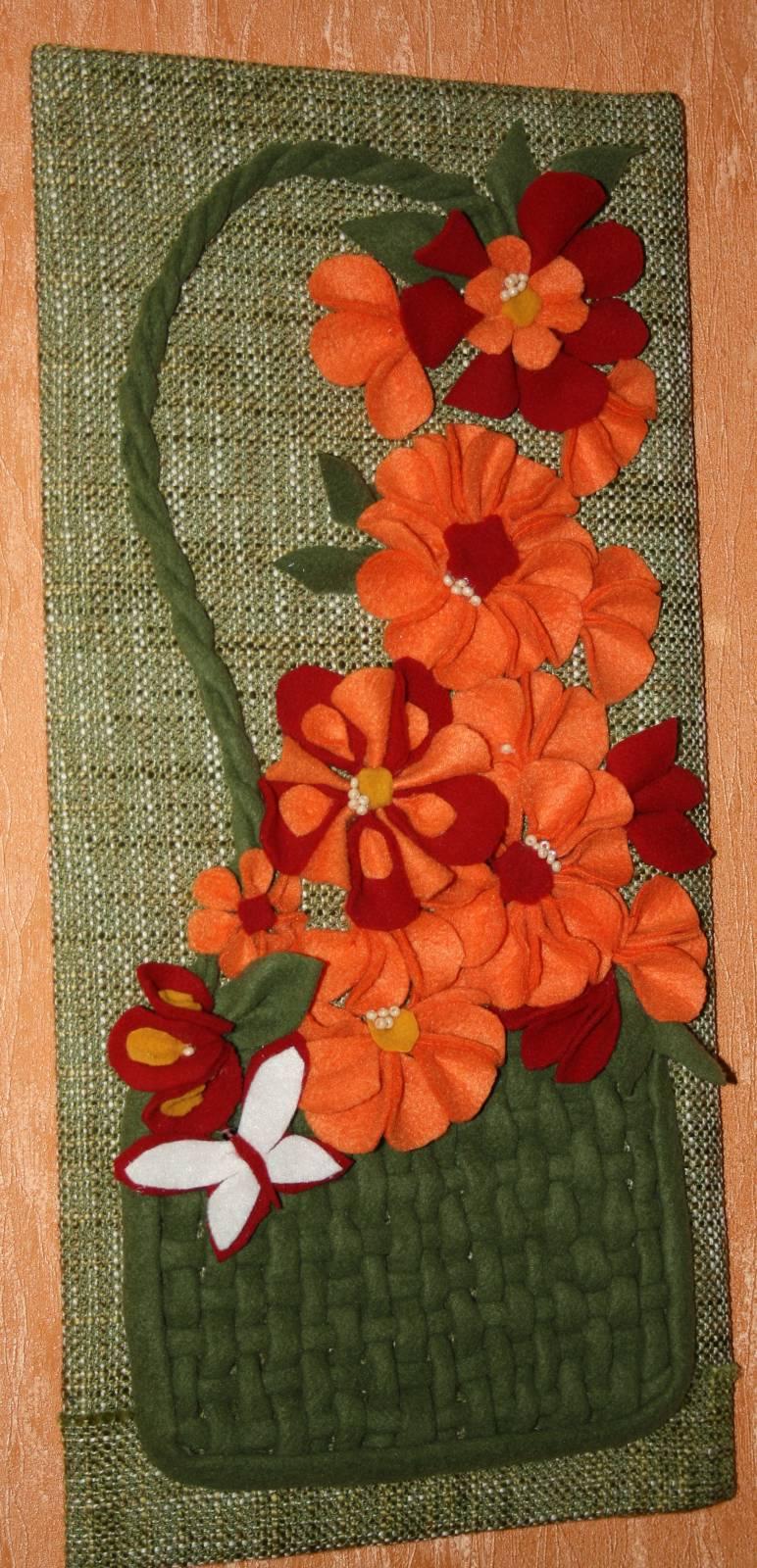 Картина из цветов из ткани своими руками 610